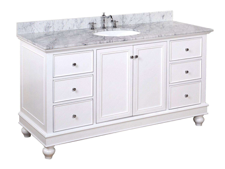Bella 60 Inch Single Sink Bathroom Vanity Carrara White