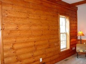 Faux Log Cabin Interior Walls | Log siding, rustic log ...
