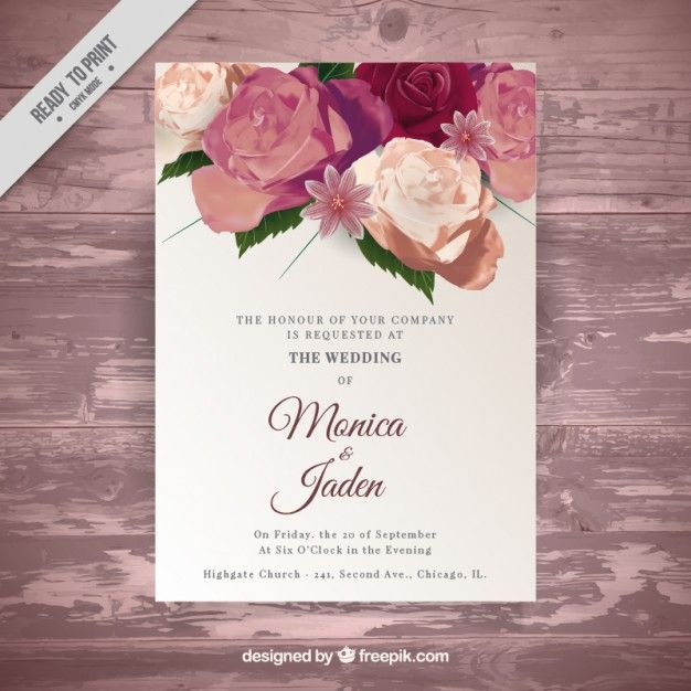 Entregue o carto de rosas pintadas de casamento no estilo do wedding invitations vectors photos and psd files stopboris Choice Image