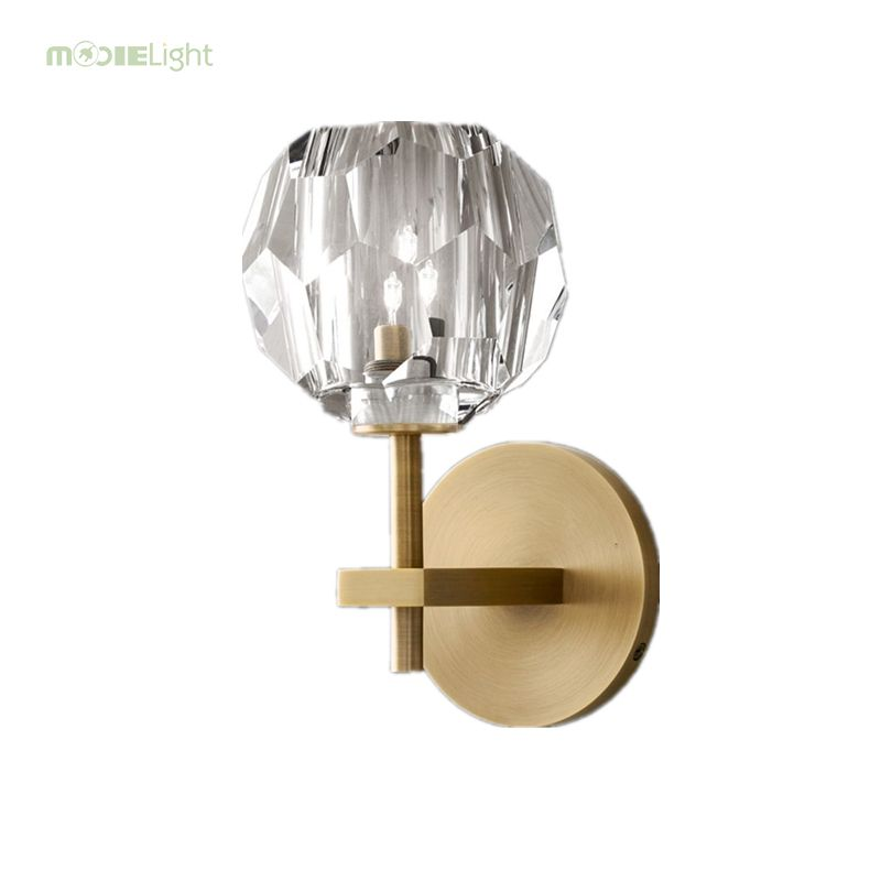 Mooielight Retro Rh K9 Crystal Shades G9 Wall Lamp American Bedside Sconce Lighting Fixtures Lustre Living Room Wall Li Sconce Light Fixtures Sconces Wall Lamp