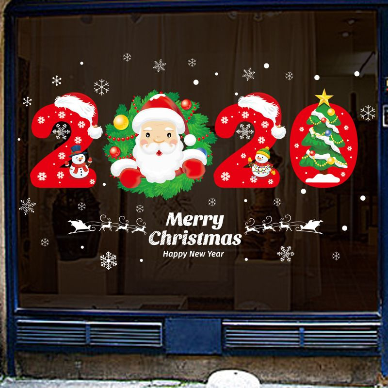 Removable Merry Christmas Window Stickers Happy New Year