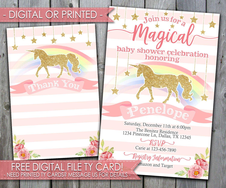 unicorn baby shower invitation, unicorn shower invitation, unicorn, Baby shower invitations