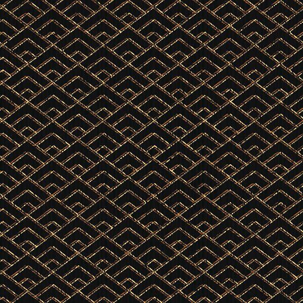 Seamless pattern based on japanese sashiko motif. Golden color….