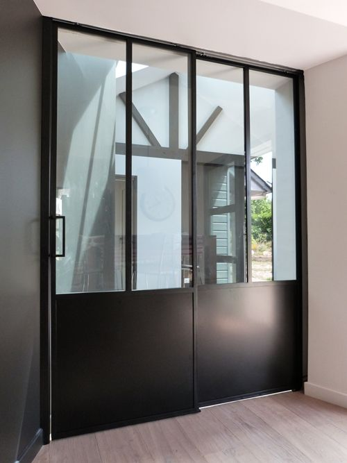 Porte double vantaux coulissant galandage verrieres d 39 interieur pinterest portes - Porte interieur vitree double battant ...