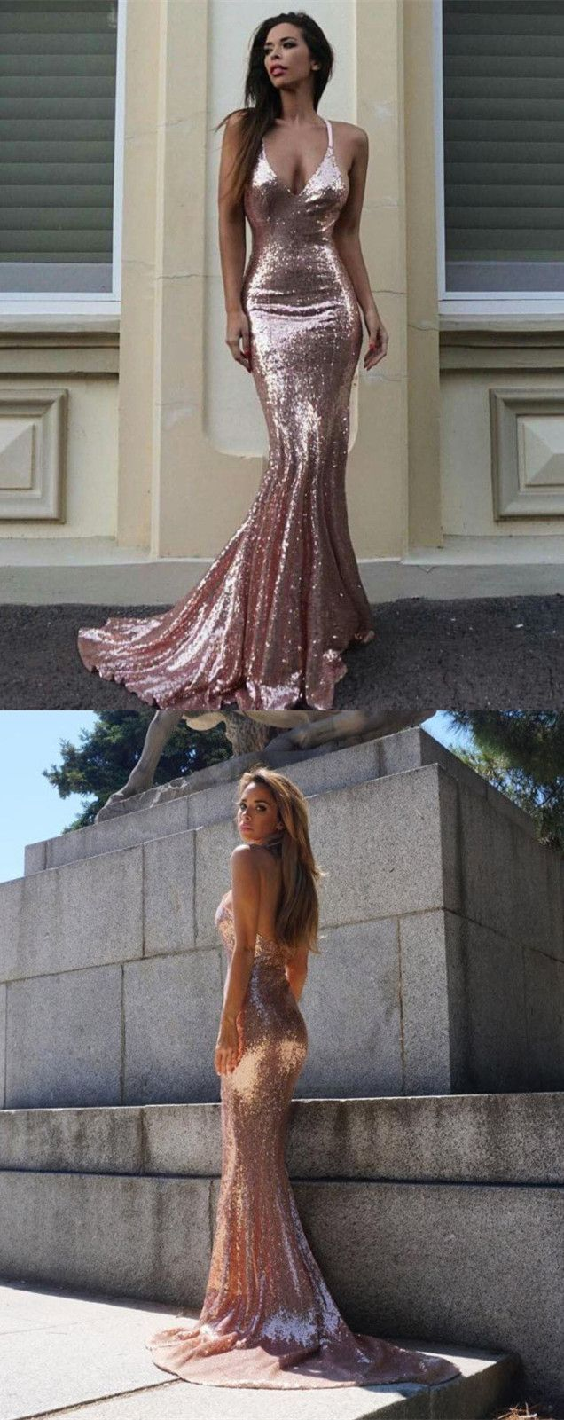 Mermaid spaghetti straps rose gold sequined prom dress glitter