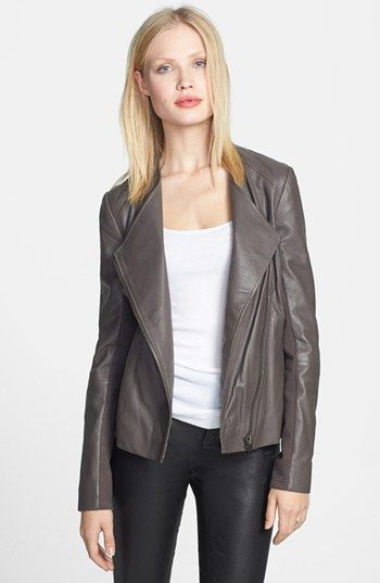 collarless leather jacket - love it