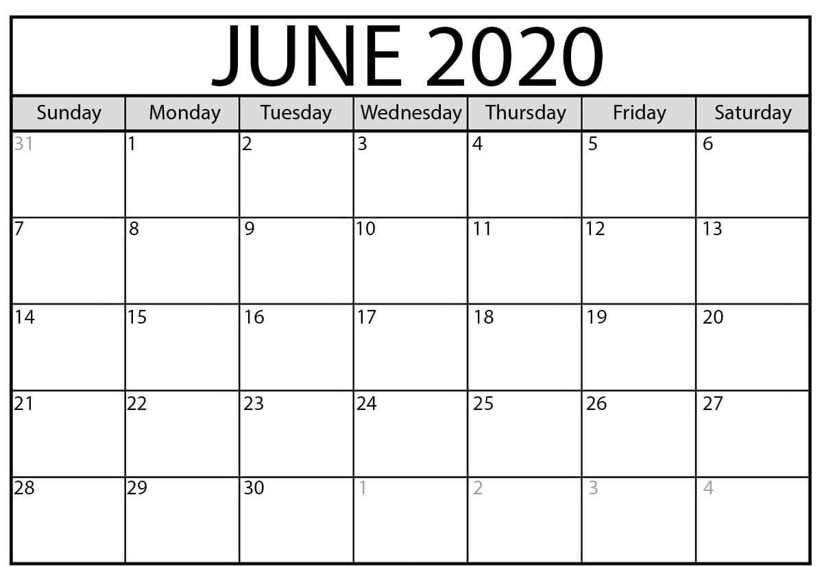 Blank June 2020 Calendar Printable In 2020 Calendar Printables Calendar Word Monthly Calendar Template
