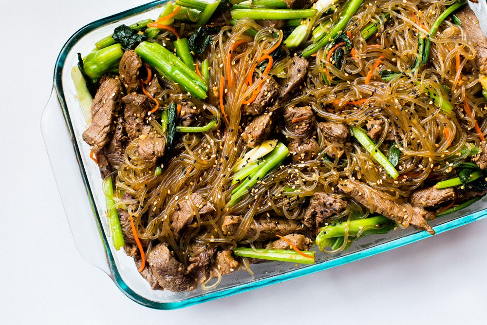 Japchae (Korean beef with spinach or cabbage)