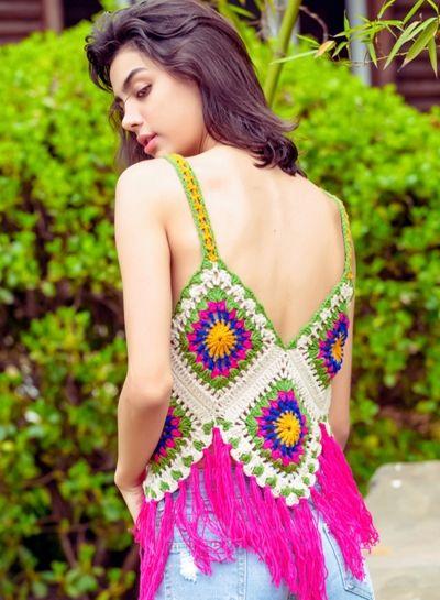 Fashion V Neck Crochet Tassel Tank OASAP.com