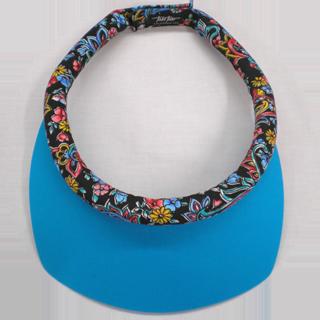 Square Turquoise Brim w/Floral Paisley Band w/Velcro Closure sun visor