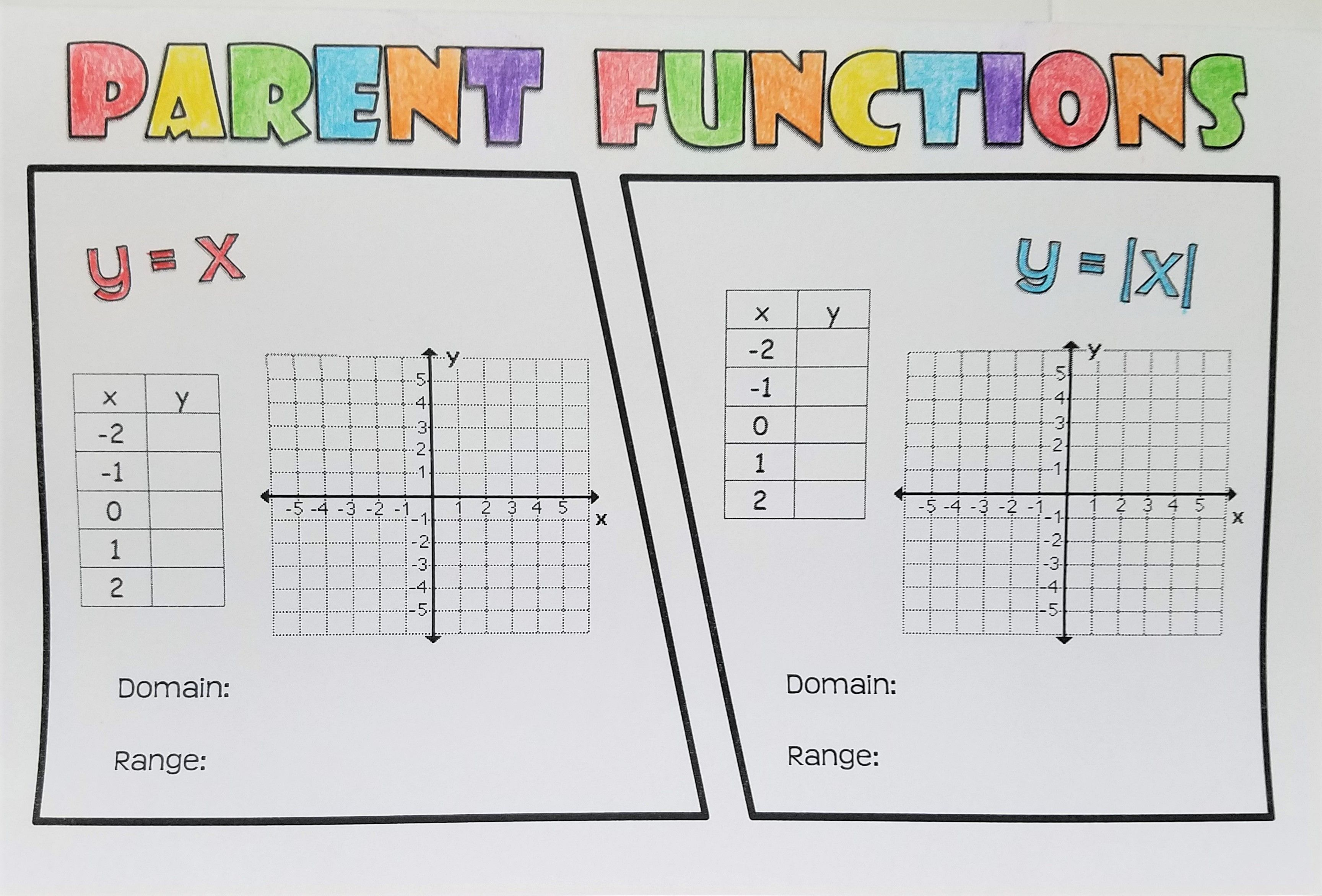 Parent Functions Foldable 2a 2a
