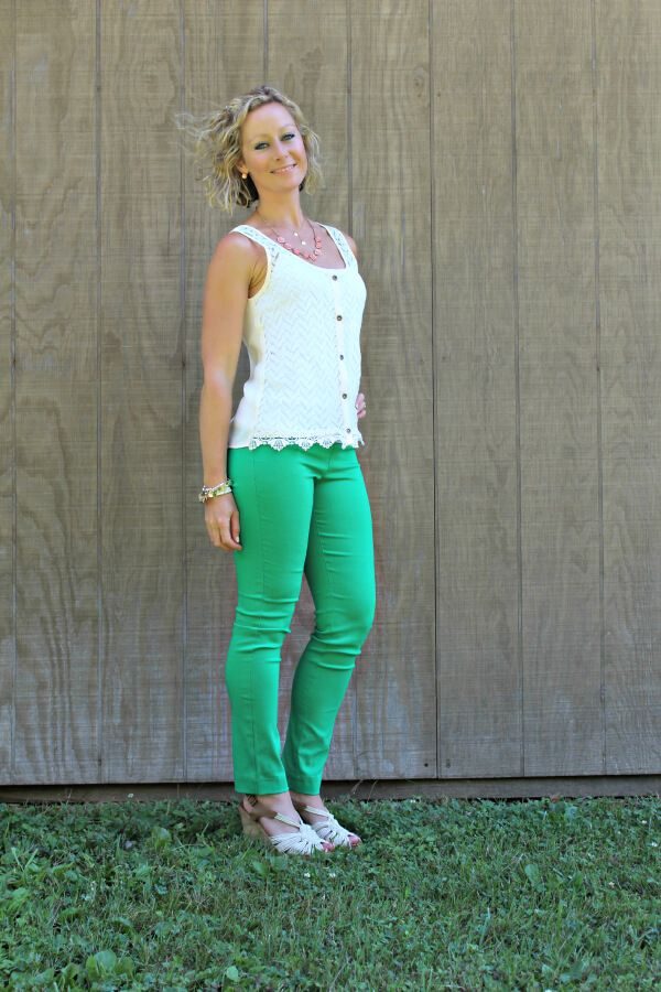 Color, style, fit of the whole outfit, top especially. Don't need pants, but cute all the same.