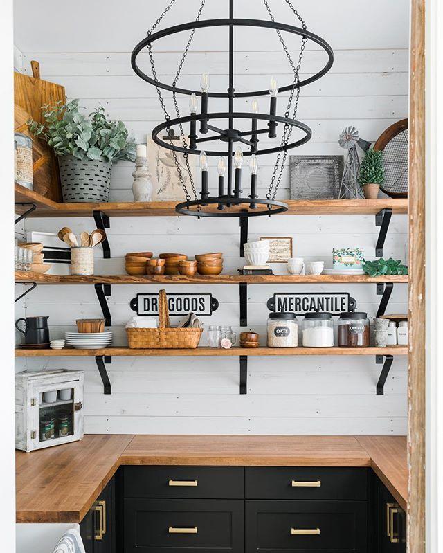 pin by sabon home on modern farmhouse modern farmhouse kitchen open shelving on farmhouse kitchen open shelves id=95704