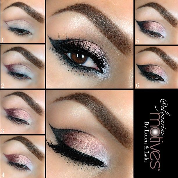 1.Apply eye base all over the lid. Draw your outline using Plum eyeshadow (My Beauty Weapon palette) 2.Take Plum eyeshadow and shade in the tale of the cat eye 3.Using Pink Diamond shade in the the second part of the lid, staying underneath the outline 4