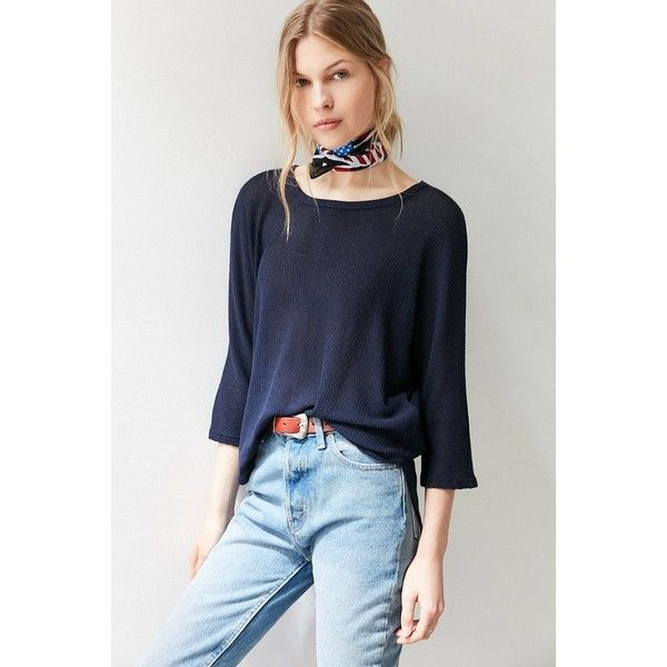 Silence + Noise Miley Dolman Pullover Sweater (62 CAD) ❤ liked on Polyvore featuring tops, sweaters, sweater pullover, ribbed knit sweater, navy blue knit sweater, ribbed sweater and knit pullover