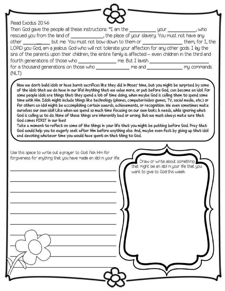 printable bible ten commandments worksheets
