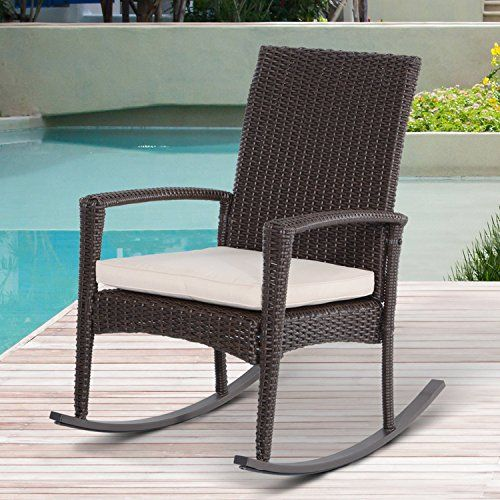 Outsunny Rattan Rocking Chair Rocker Garden Furniture Seater Patio