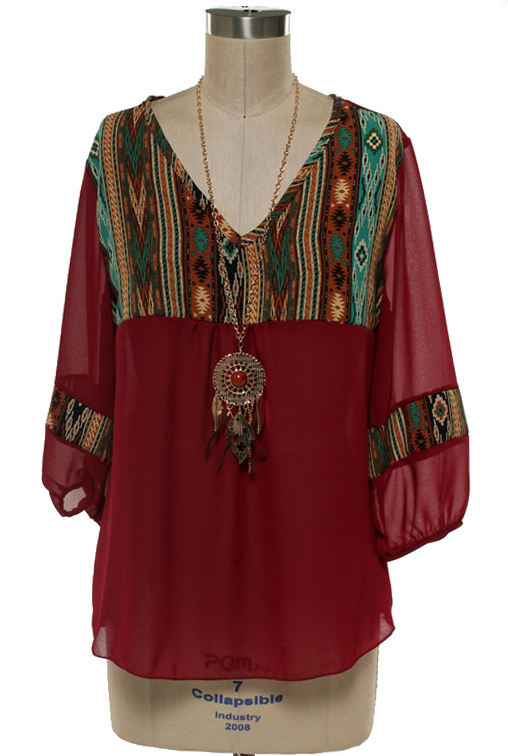 100% poly, soft sheer and loose fitting tribal print top with 3/4 sleeves