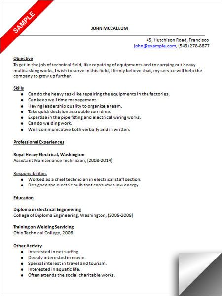 Maintenance Technician Resume Sample Resume Examples Pinterest - Technology Resume Objective