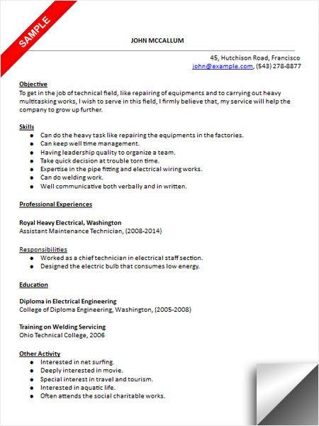 Maintenance Technician Resume Sample Sample Resume Templates Resume Examples Engineering Resume