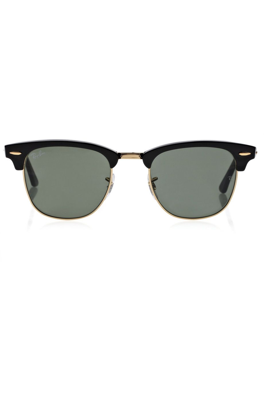 """Ray-Ban black and gold """"Clubmaster"""" half-frame acetate sunglasses, $145"""