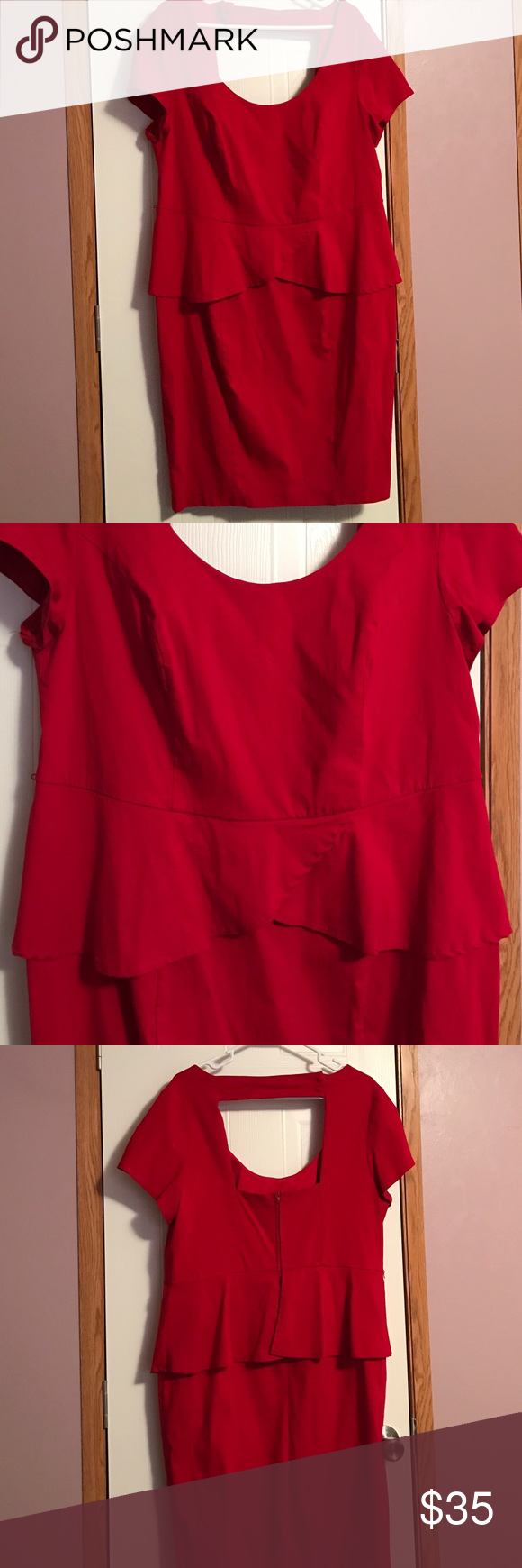 "Red Torrid dress Red Torrid dress. Hugs to body and had a peplum that covers imperfections in the mid section. Falls just above the knee on me and I am 5'6"". Cut out in back. Also has zipper in the back. Worn only once. Excellent condition. Torrid Dresses Midi"