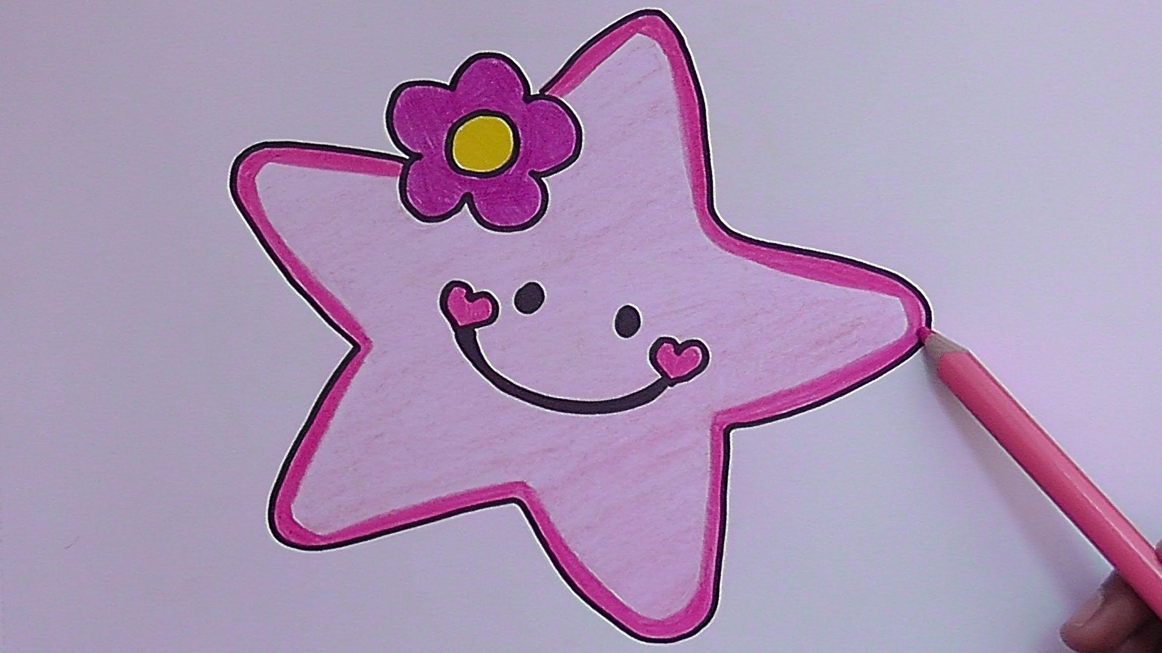 Como Dibujar Y Pintar A Estrella Rosado How To Draw And Paint Pink Star Pink Stars Drawings Painting