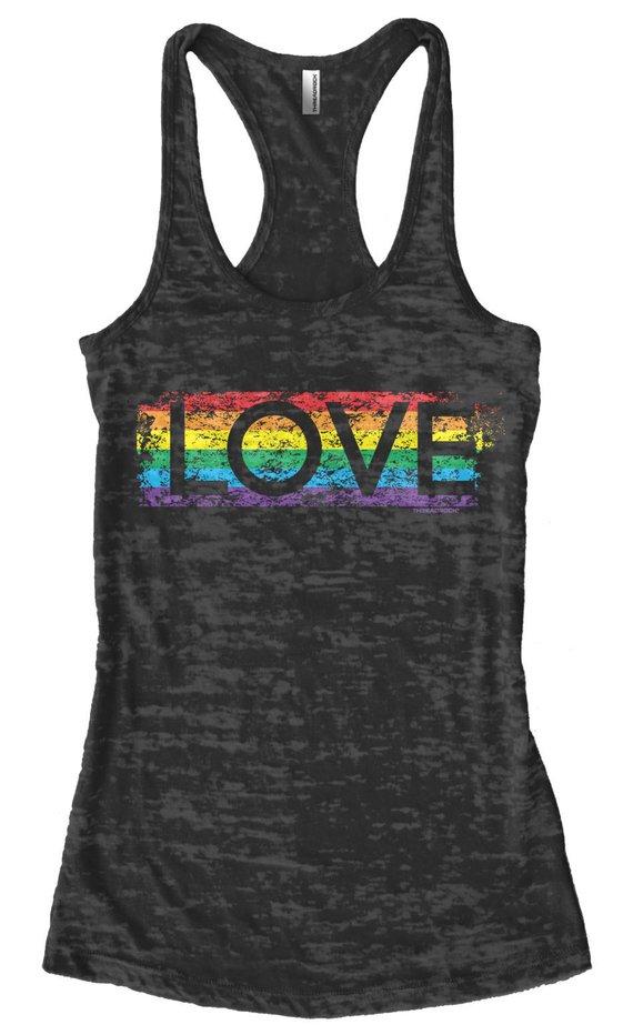 Gay Pride Rainbow Love Women s Burnout Racerback Tank Top Proud LGBT Parade  Lesbian Bisexual Transge f340f37494