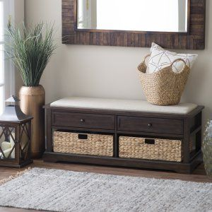 Winsome Granville Storage Bench With 3 Foldable Baskets Indoor Benches At Hayneedle