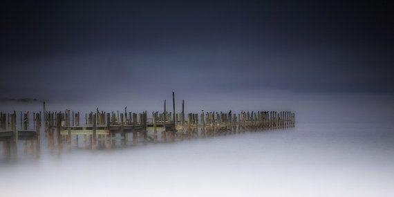 Fine Art Print Foggy Misty Old Docks Wooden by photographybyVena, $40.00