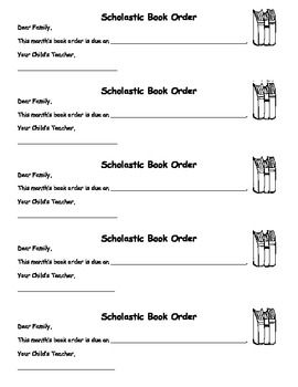 Scholastic Book Order Letters  Back To School    Order