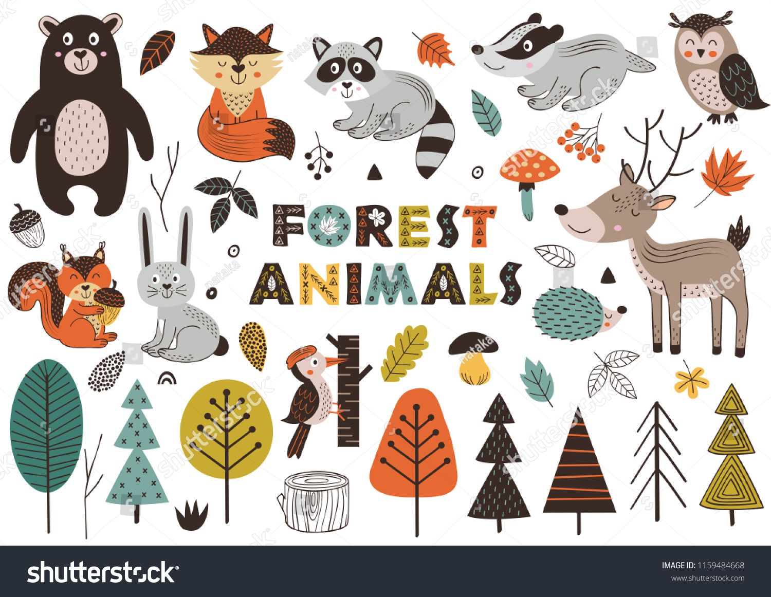 Forest Animals And Plants In Scandinavian Style Vector Illustration Eps Sponsored Sponsore In 2020 Forest Animals Illustration Forest Animals Scandinavian Style