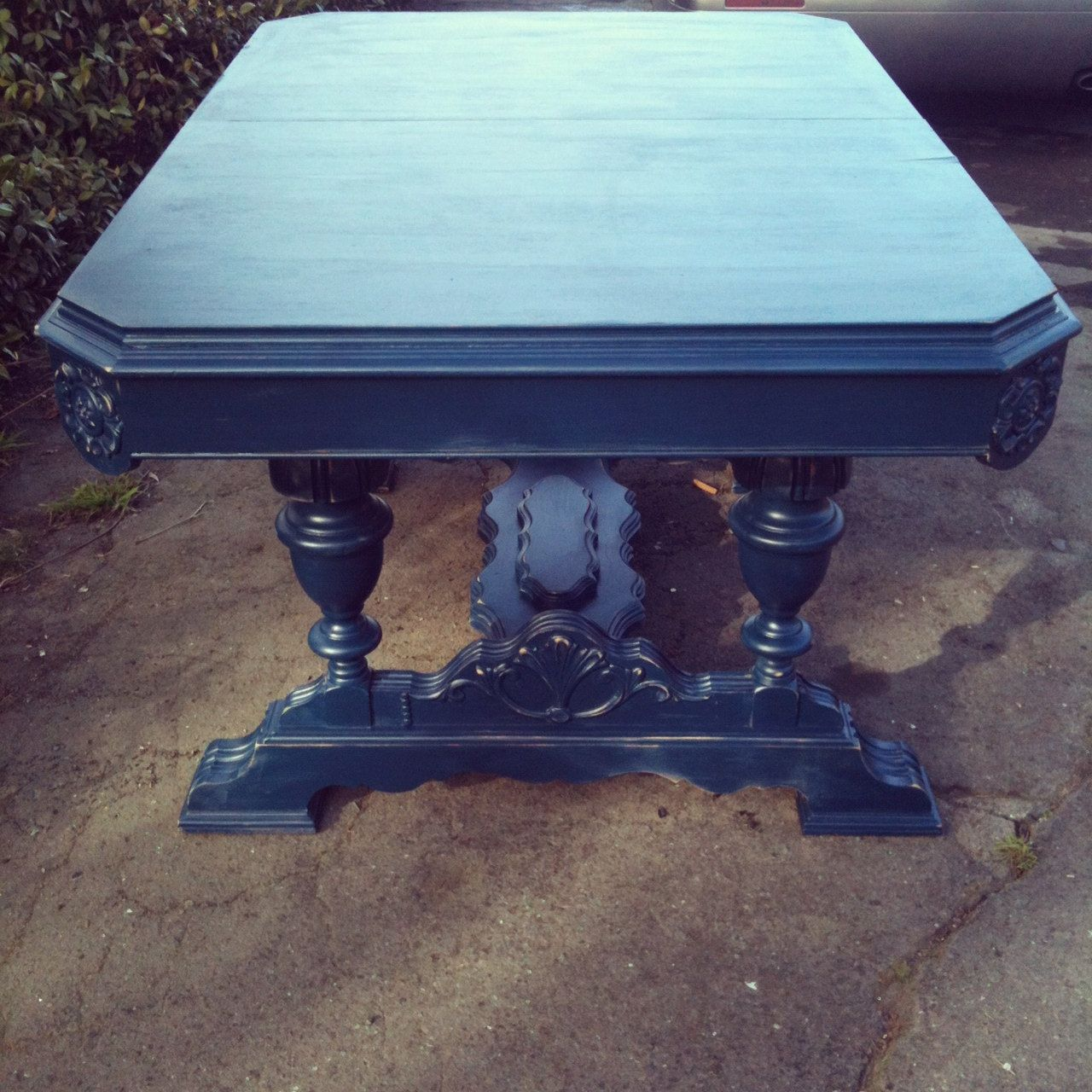 Vintage 1950s Midnight Blue Ornate Parlor Dining Table