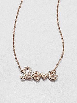 Sydney+Evan Pavé+Diamond+Love+Pendant+Necklace/Rose+Gold