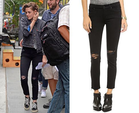57cd2bb721b7 Kristen Stewart wears MOTHER The Looker Frayed Ankle Jeans in the color  Guilty As Sin while in New York (September 21