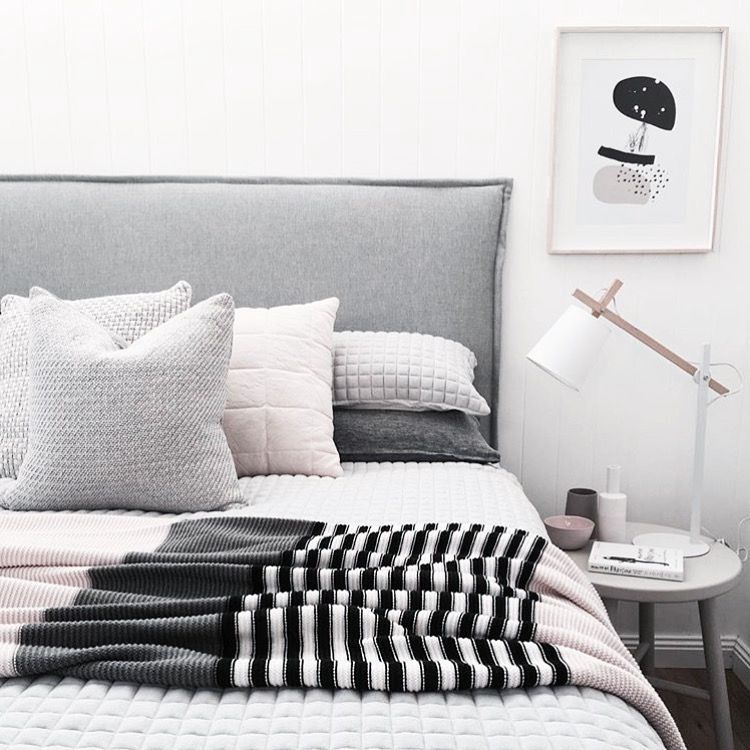 Scandi style master bedroom using pastels  blush  grey   our Wild abstract  home art print. Scandi style master bedroom using pastels  blush  grey   our