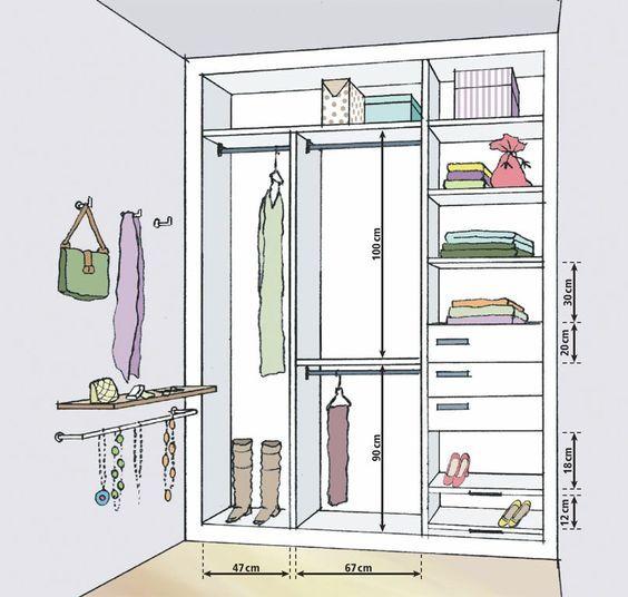 Projetos de closets pequenos com medidas | Armario, Vestidor y Clóset