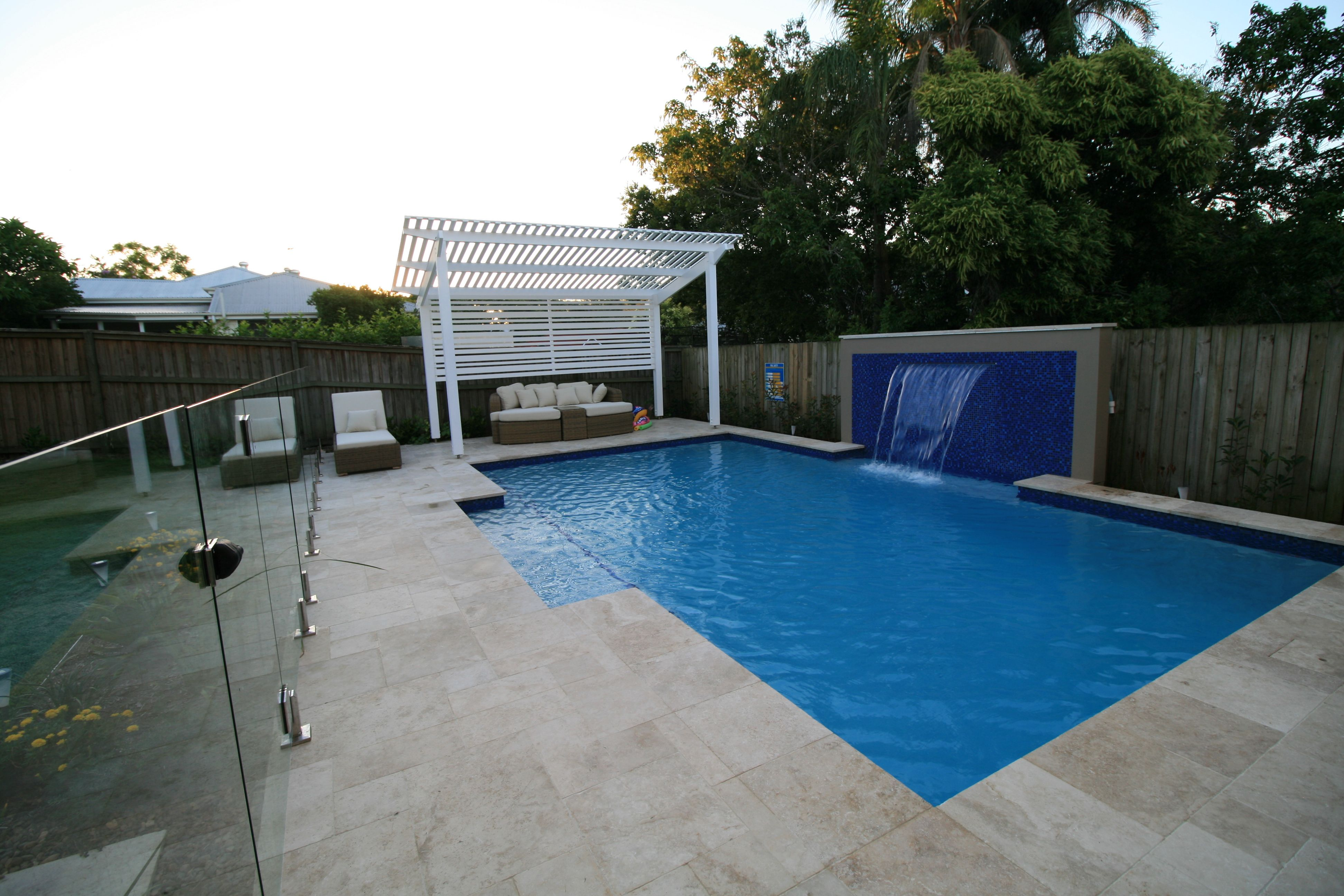Landscape Design U0026 Construction. Swimming Pool With Sheer Decent Water  Feature, Gazebo And Landscaping. Landscape Design Brisbane; Swimming Pools  Brisbane;