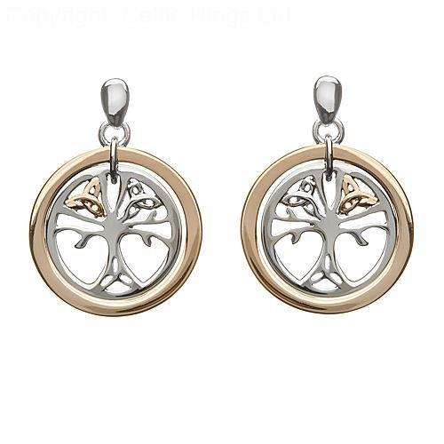 Rose Gold Tree of Life Earrings Irish Jewelry Irish Jewelry