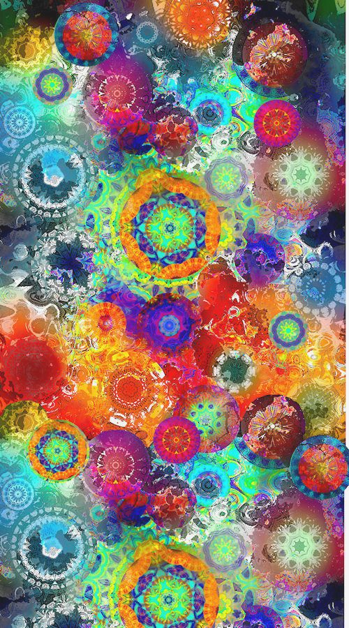 Artist Created Cotton Fabric Panel Quilting Sunset Fiber Art Kaleidoscope Sky