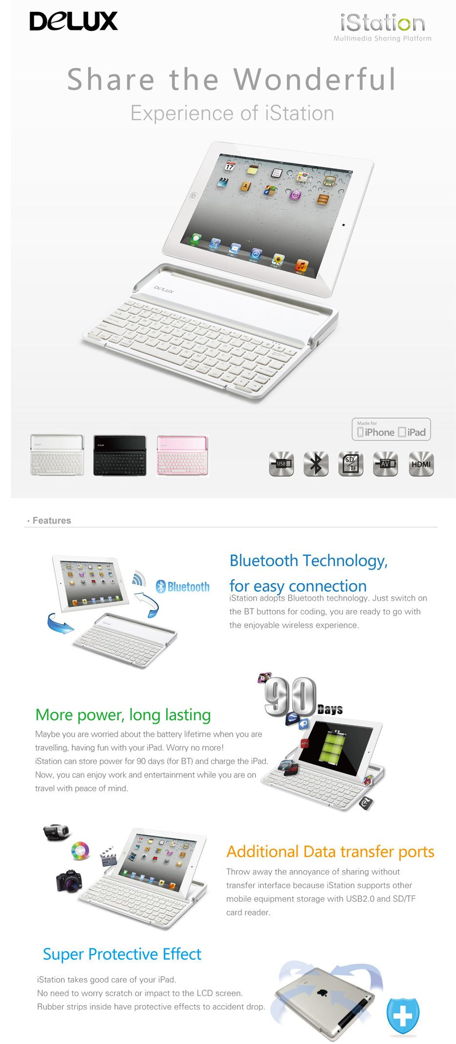 Delux® iStation MFI iPad Air/2/3/4 Bluetooth Keyboard with