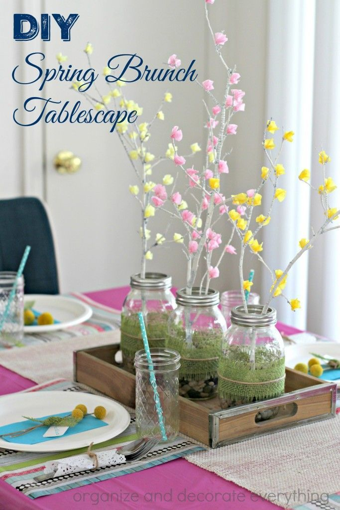 Make a beautiful DIY Spring Brunch Tablescape using a few inexpensive supplies