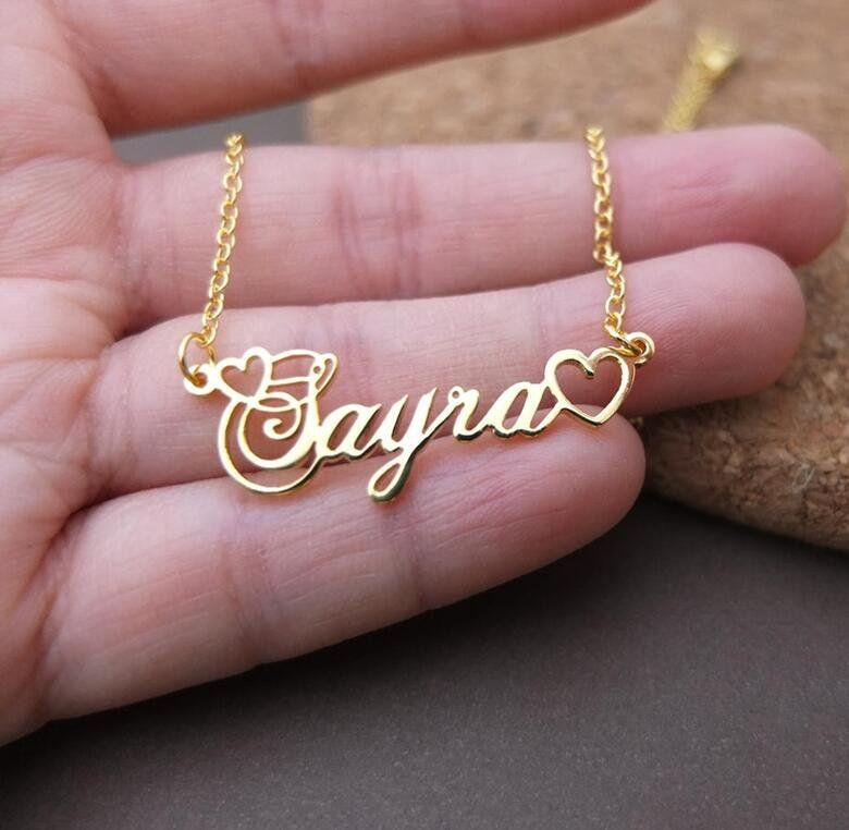 Necklace double Name Custom Personalized Stainless Steel Initial Letter Box Gift