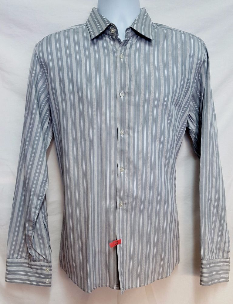 Hugo Boss Striped Button Front Long Sleeve Shirt Size Large L Grey/White  Stripes #