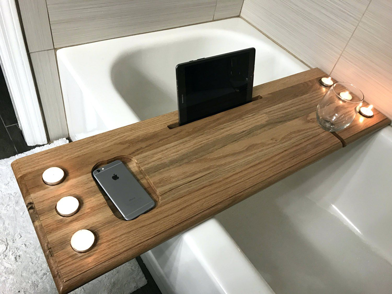 Bathtub Wine Holder Over The Tub Bath Caddy Bathtub Caddy Wood ...