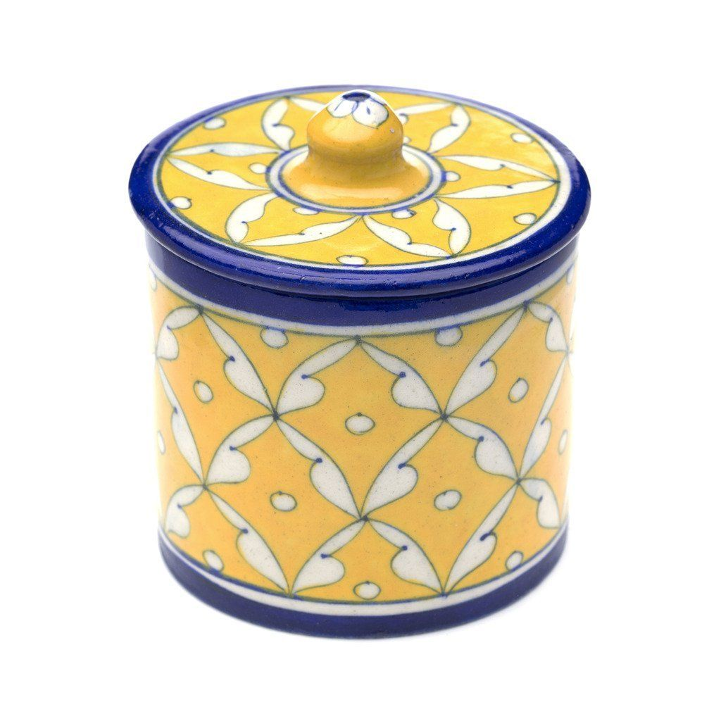 Blue Pottery Canister - Blue & Yellow | Blue pottery and Products