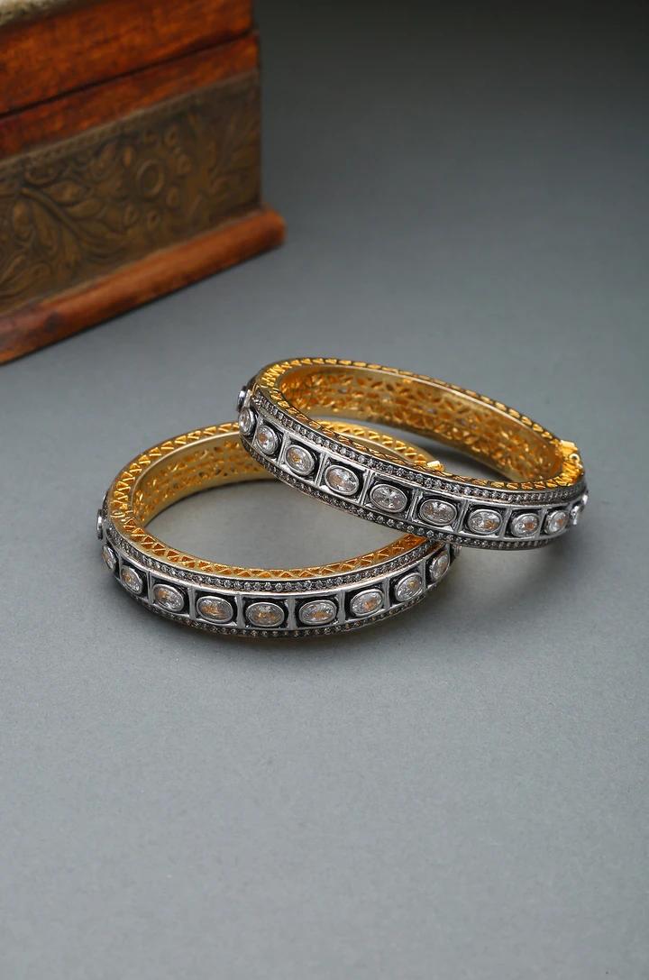 Polki Faux Diamond Victorian Bracelet with Semi-precious ruby stones Victorian Polki Bracelet Silver Polki Bracelet