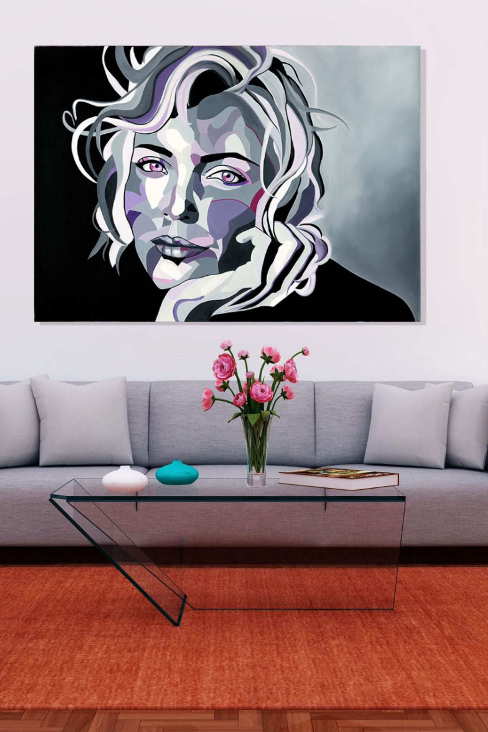 Grey Canvas Wall Art Living Room Canvas Wall Art Modern Wall Decor Pop Art Print Large Canvas Print Woman Portrait Monochromatic Print In 2020 Modern Wall Art Canvas Canvas Wall Art