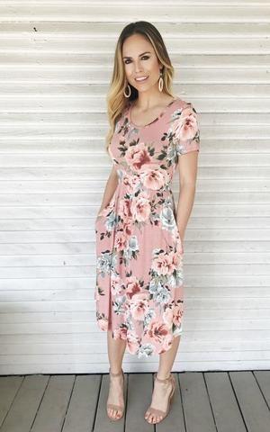5777268a8c8a Ramona-Blush. Floral dress. Midi length. Spring/Summer dress. Comfy ...