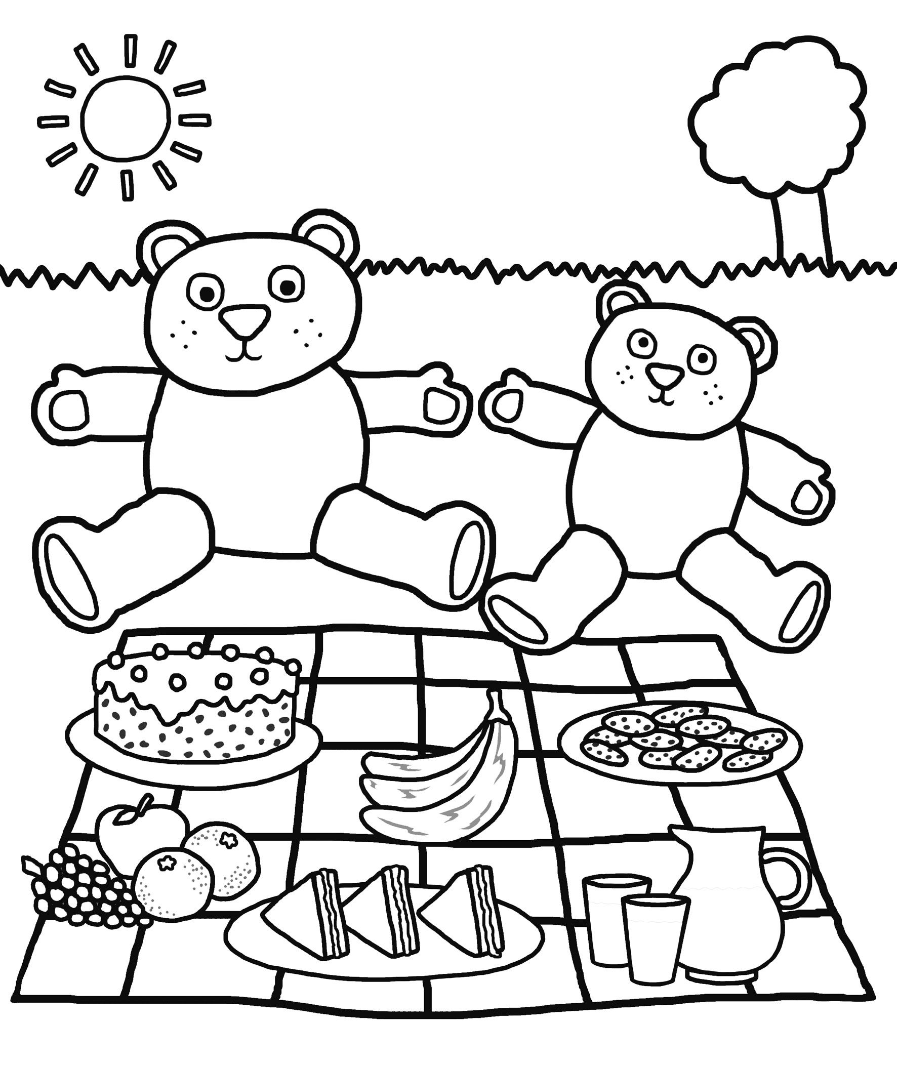 July 10 Is National Teddy Bear Picnic Day Enjoy This Fun Teddy Bear Picnic Color Page